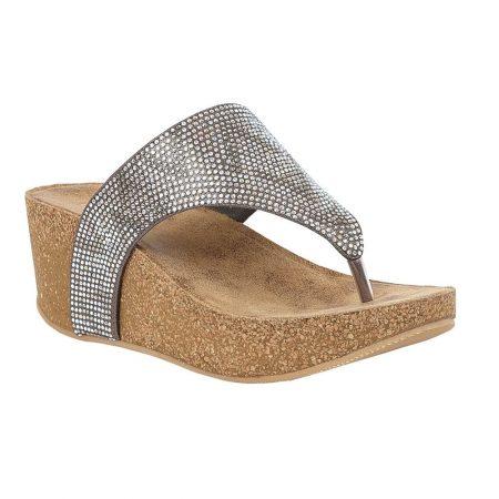 Lotus Patsy Pewter Wedge Sandals