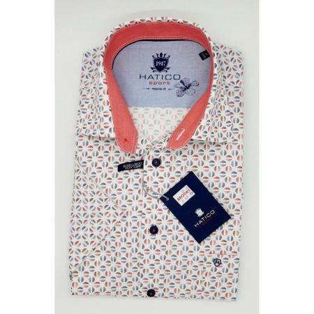 Hatico coral pink short sleeve shirt.