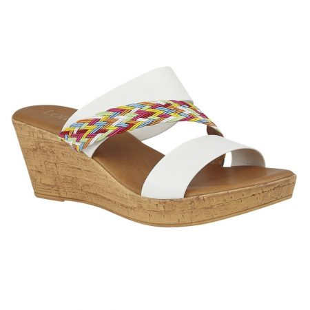 Lotus Jezebel White Wedge Sandals
