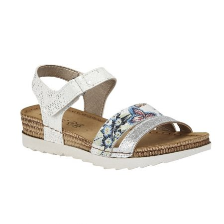 Lotus Prato White Flat Sandals