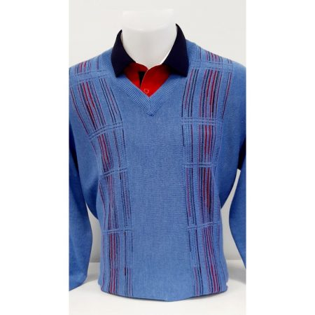 Gabicci Blue Patterned Wool Mix Jumper