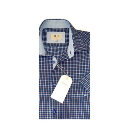 Drifter Navy Check Short Sleeve Shirt