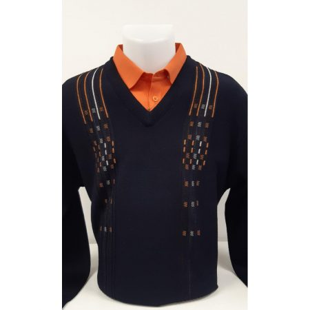 Gabicci Navy Patterned Wool Mix Jumper
