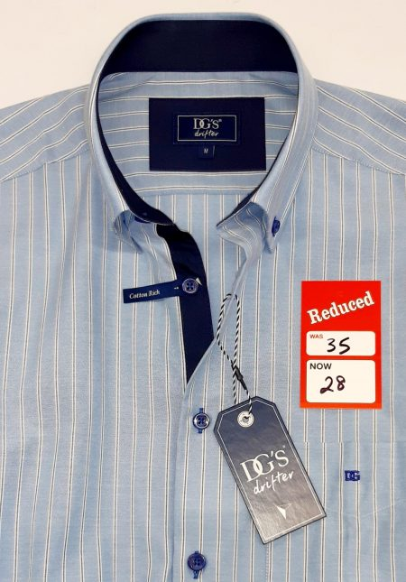 Drifter Sky Blue Stripe Short Sleeve Shirt