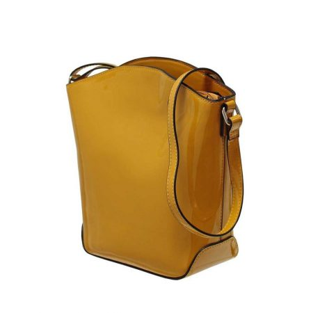 Envy Mustard Patent Shoulder Bag