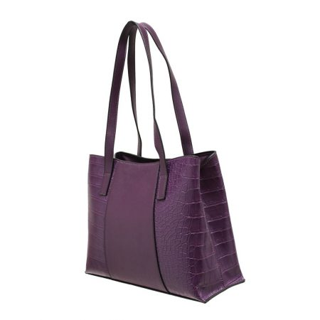 Envy Purple Croc Print Handbag
