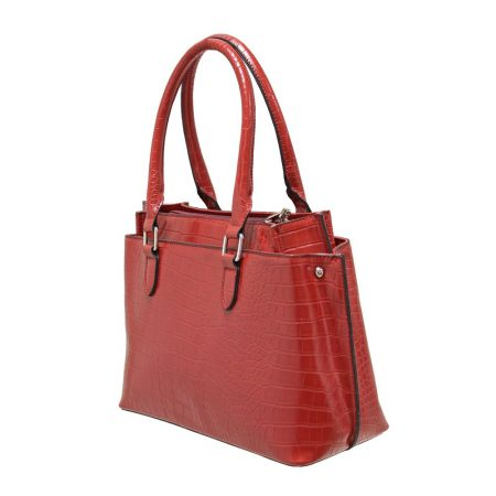 Envy Red Croc Print Handbag