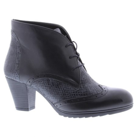 Adesso Monroe Black Leather Brogue Boots