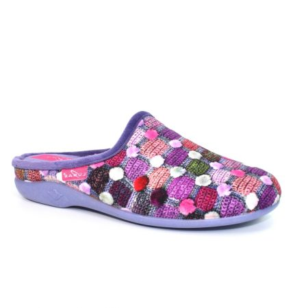 Lunar Crackle Purple Print Mule Slippers