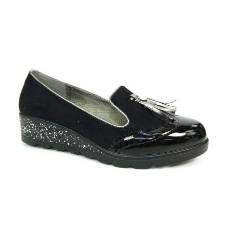 Lunar Trisha Black Sparkle Wedge Loafers