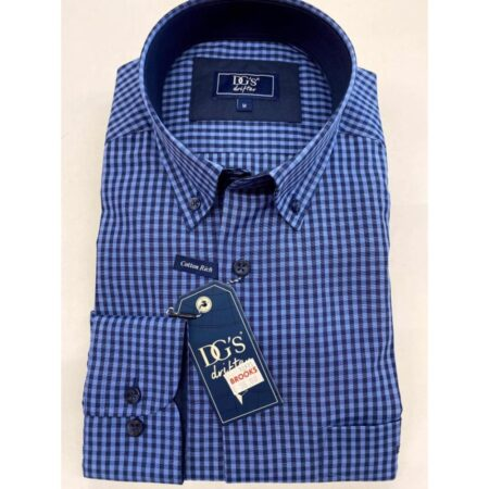 Drifter Navy Check Long Sleeve Shirt