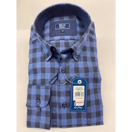 Drifter Blue Check Long Sleeve Shirt