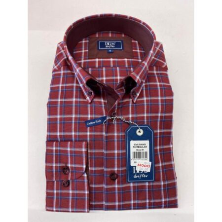 Drifter Red Open Check Long Sleeve Shirt