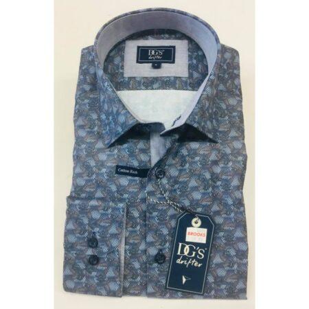 Drifter Blue Geometric Long Sleeve Shirt
