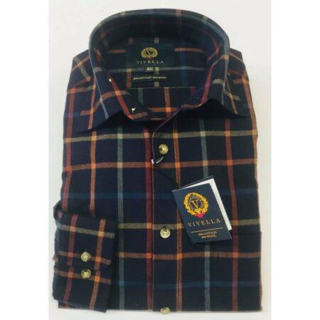 Viyella Navy Check Long Sleeve Shirt