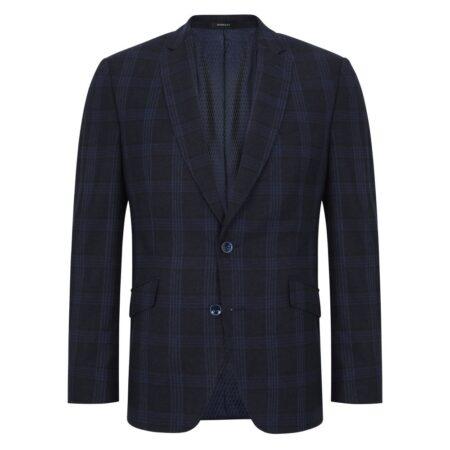 Douglas Navy Check Wool Jacket