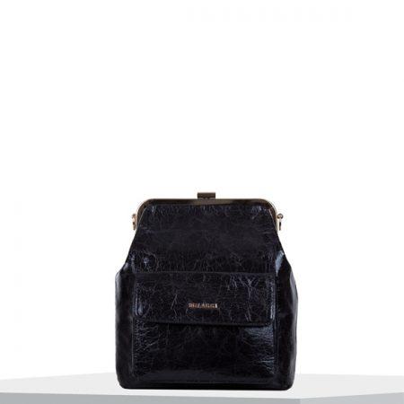 Bulaggi Valentine Black Crinkle Patent Handbag