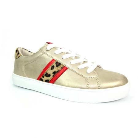 Lunar Macy Gold Animal Print Trainers