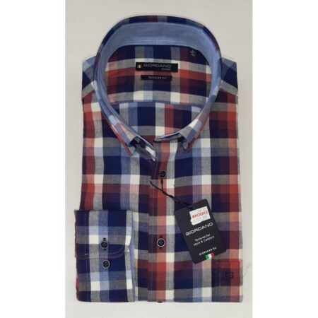 Giordano red and blue patterned shirt