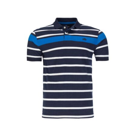 Raging Bull Navy Striped Polo Shirt