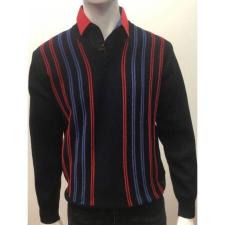 Gabicci Navy Stripe V Neck Sweater