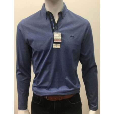 Dario Beltran Blue Long Sleeve Polo Shirt