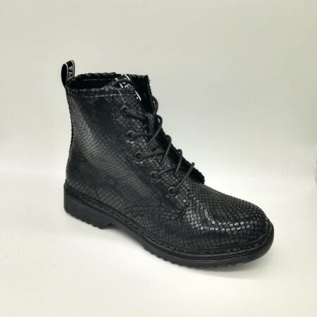 Fabs Black Snake Print Combat Boots