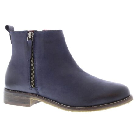 Adesso Megan Navy Leather Ankle Boots