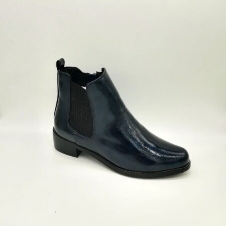 Lunar Mixer Navy Patent Ankle Boots