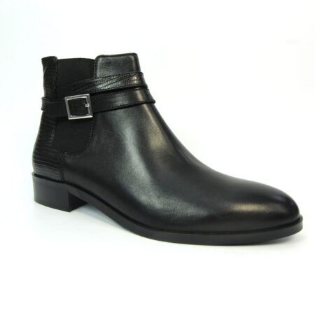 Lunar Allora Black Leather Ankle Boots