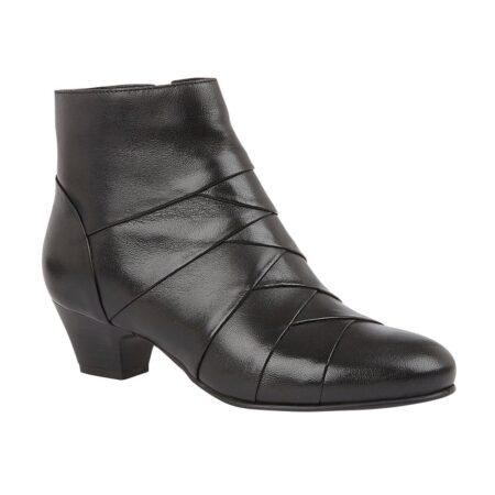 Lotus Tara Black Leather Ankle Boots