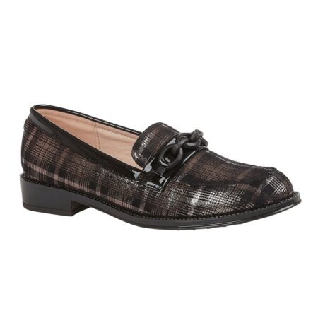 Lotus Albe Pewter Check Loafers