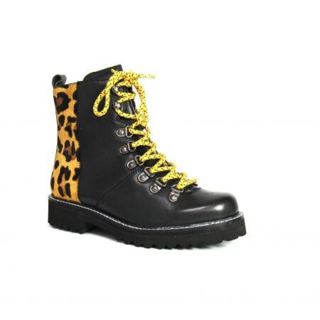 Lunar Emzy Black Leather Combat Boots