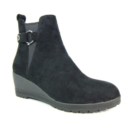 Lunar Josephine Black Wedge Ankle Boots
