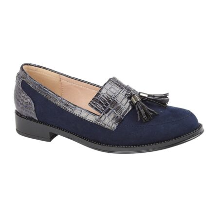 Lotus Mercedes Navy Flat Loafers