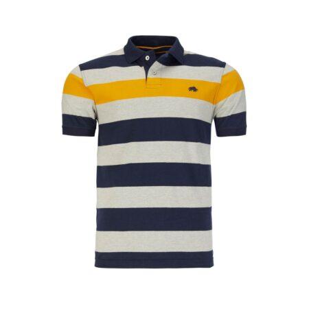 Raging Bull Striped Navy Polo Shirt
