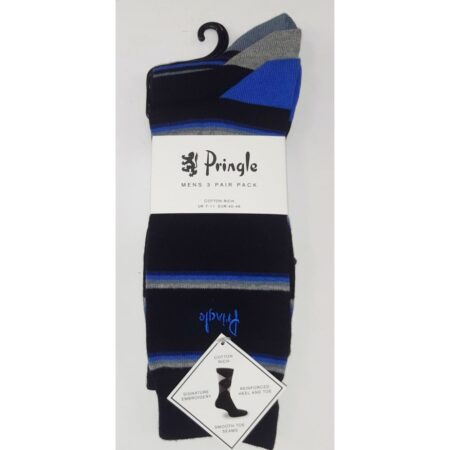 Pringle 3 Pack Black Cotton Socks