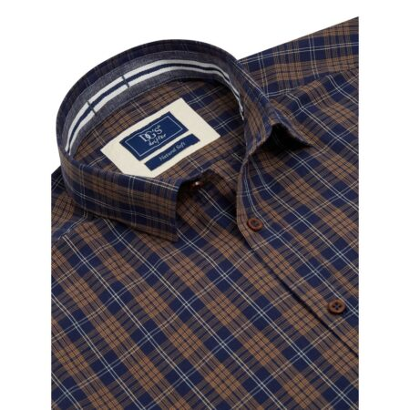 Drifter Navy Tan Check Long Sleeve Shirt