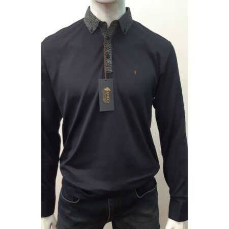 Gabicci Navy Long Sleeve Polo Neck Top