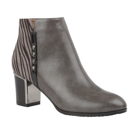 Lotus Rebel Grey Heeled Ankle Boots