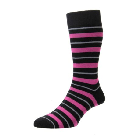 HJ Hall Black Striped Cotton Socks