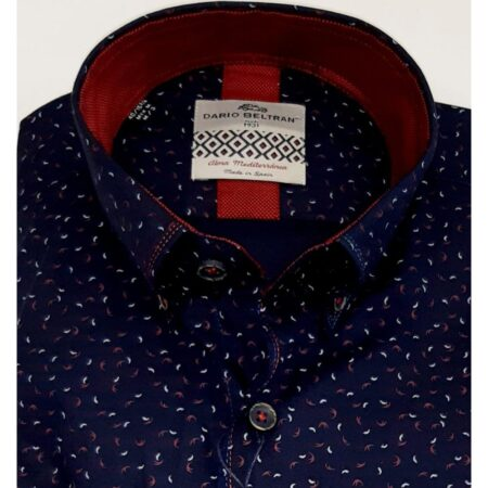 Dario Beltran Navy Patterned Shirt