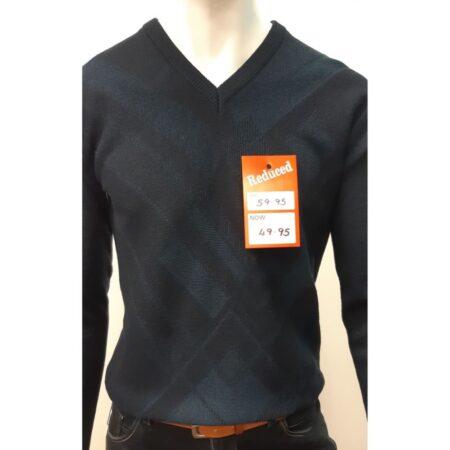 DG Prestige Navy V Neck Sweater