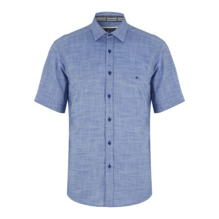Drifter Short Sleeve Blue Cotton Shirt