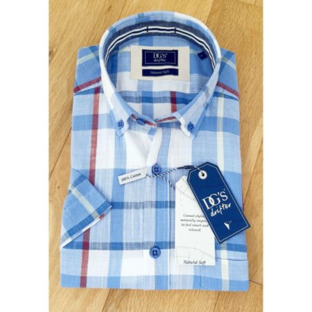Drifter Short Sleeve Blue Check Cotton Shirt