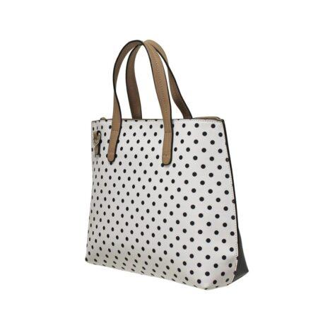 Envy White Navy Polka Dot Handbag