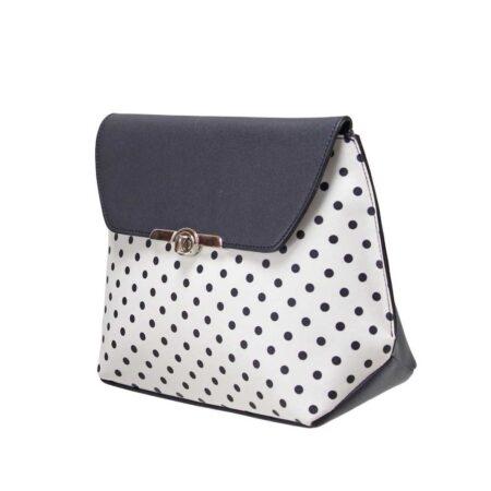 Envy White Navy Polka Dot Shoulder Bag