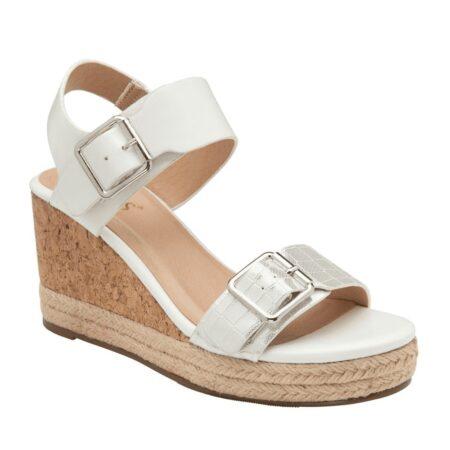 Lotus Primrose White Wedge Sandals