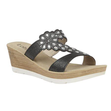 Lotus Catania Black Wedge Sandals