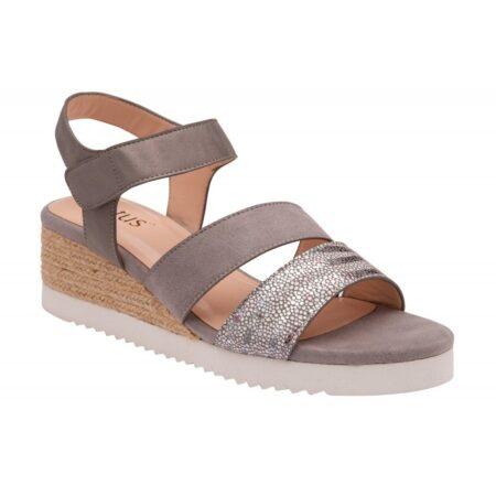 Lotus Ashlyn Grey Wedge Sandals